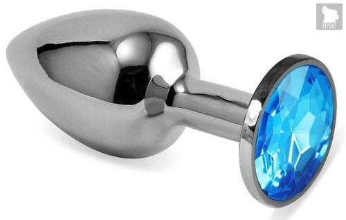 Серебристая гладкая анальная пробка с голубым кристаллом - 9 см., цвет голубой - Vandersex