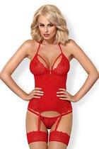 Сексуальный корсаж с кружевами, цвет красный, размер S-M - Obsessive