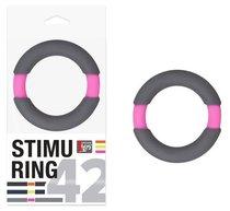 Серо-розовое эрекционное кольцо на пенис Neon Stimu, цвет розовый/серый - Dream toys