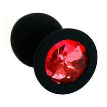 Чёрная силиконовая анальная пробка с красным кристаллом - 7 см, цвет красный/черный - Kanikule