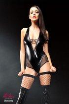 Эффектное боди Claudia со шнуровкой на груди и сетчатыми вставками, цвет черный, размер L-XL - Demoniq