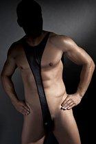 Эротическое боди Derrick из ткани с wet-эффектом, цвет черный, размер 3XL - Anais