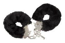 Чёрные меховые наручники с ключиками Furry Handcuffs, цвет черный - Blush Novelties
