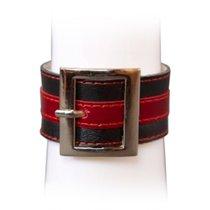 Браслет чёрно-красный с квадратной пряжкой, размер универсальный, Р2110 - Подиум