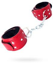 Красные кожаные наручники с меховым подкладом, цвет красный - БДСМ арсенал