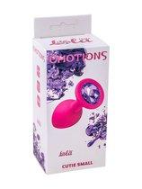 Малая розовая анальная пробка Emotions Cutie Small с фиолетовым кристаллом - 7,5 см, цвет розовый - Lola Toys