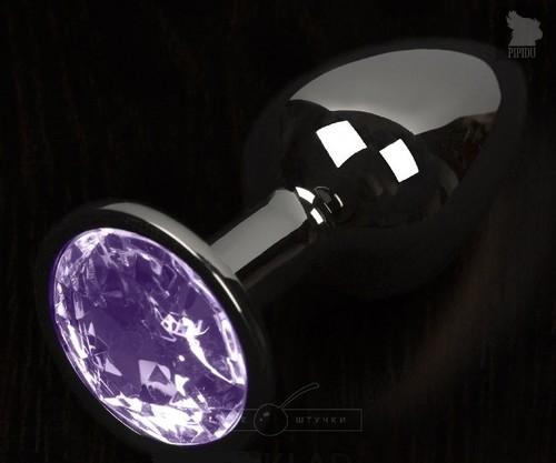 Графитовая анальная пробка с фиолетовым кристаллом - 8,5 см., цвет фиолетовый - Пикантные штучки