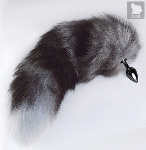 Хромированная анальная пробка с пушистым хвостом - Sitabella
