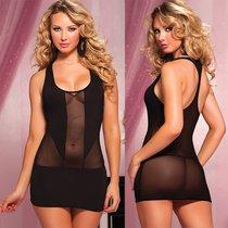 Платье Mesh & Microfiber Racer Back, цвет черный, S-L - Seven`til Midnight