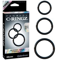 Набор из 3-х эрекционных колец Silicone 3-Ring Stamina Set, цвет черный - Pipedream