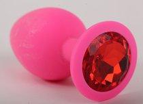 Пробка силиконовая розовая с алым кристаллом 9,5х4см 47083-2MM - Eroticon