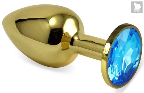 Золотистая анальная пробка с голубым кристаллом - 5,5 см., цвет голубой - Vandersex