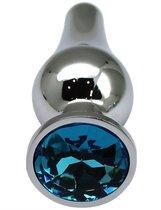 Серебристая анальная пробка с голубым кристаллом - 9,4 см., цвет голубой - Eroticon