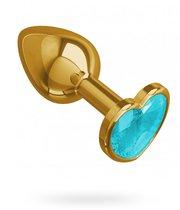 Золотистая анальная пробка с голубым кристаллом-сердцем - 7 см, цвет голубой/золотой - МиФ