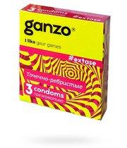 Презервативы анатомической формы с точечной и ребристой структурой Ganzo Extase - 3 шт. - Ganzo