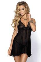 Полупрозрачная сорочка беби-долл Shayla, цвет черный, XL - Anais