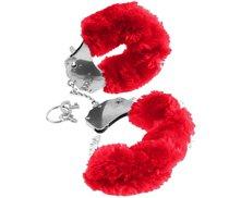 Наручники Original Furry Cuffs металлические с мехом, цвет красный - Pipedream
