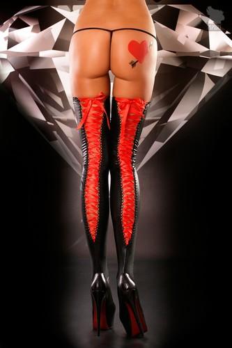 Чулки на шнуровке Lacing Stockings, цвет красный/черный, размер S-M - Lolitta