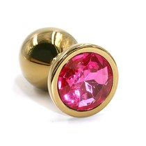 Золотистая алюминиевая анальная пробка с розовым кристаллом - 8,4 см., цвет золотой/розовый - Kanikule