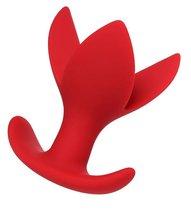 Красная силиконовая расширяющая анальная пробка Flower - 9 см, цвет красный - Toyfa