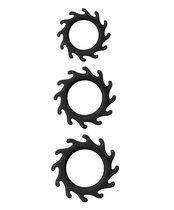 Набор из 3 эрекционных колец MENZSTUFF BUZZ SAW COCK RING SET, цвет черный - Dream toys