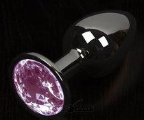 Графитовая анальная пробка с розовым кристаллом - 8,5 см., цвет розовый - Пикантные штучки