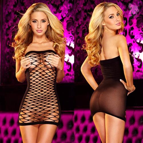 Платье Inga из сетки спереди - Black, цвет черный, S-L - Hustler Lingerie