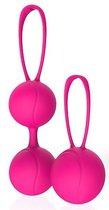 Набор из 2 розовых вагинальных шариков с петельками, цвет розовый - Bioritm