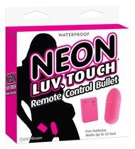Неоновая вибропуля на пульте управления Neon Luv Touch Remote Control Bullet, цвет розовый - Pipedream