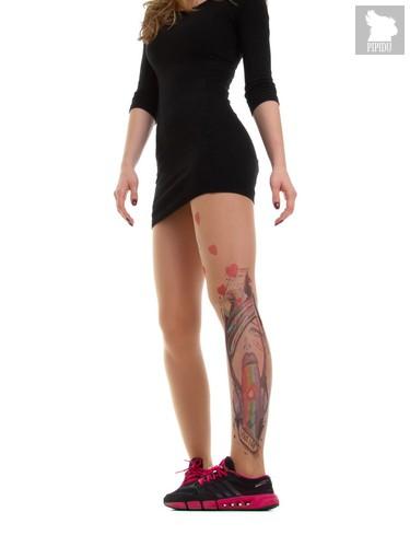 Телесные колготки с имитацией тату сбоку в виде инста-дивы, цвет телесный - TTights