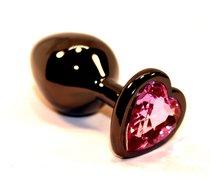 Чёрная пробка с розовым сердцем-кристаллом - 7 см, цвет черный - 4sexdreaM