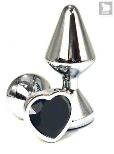 Серебристая анальная пробка с черным кристаллом-сердцем - 8 см., цвет черный - Vandersex
