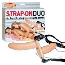Телесный женский страпон с вагинальной пробкой Strap-On Duo - 15 см - ORION