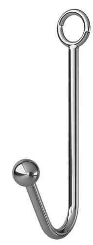Серебристый анальный крюк с фиксацией, ошейником и наручниками - МиФ