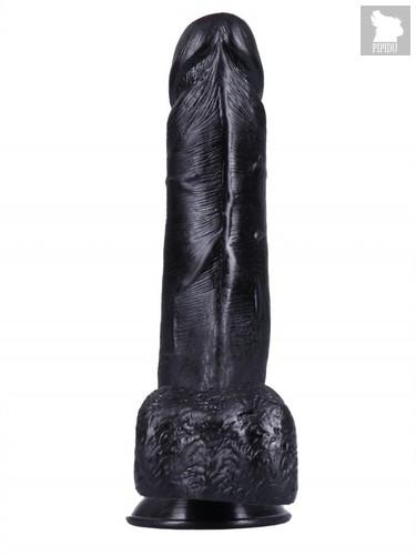 Черный вибратор-реалистик №1 с присоской - 18,5 см., цвет черный - МиФ