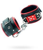 Широкие наручники с красным декором, цвет черный - БДСМ арсенал