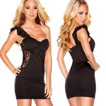 Платье Lace Passion с бретелью на одной плечо, цвет черный, L - Hustler Lingerie