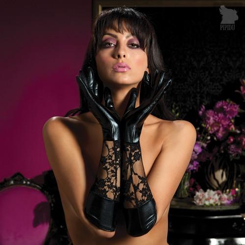 Комбинированные перчатки Lace And Lame Elbow Gloves, цвет черный, OS - Seven`til Midnight