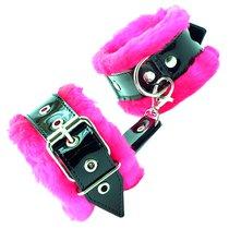 Оковы на ноги с розовым мехом BDSM Light, цвет розовый - БДСМ арсенал