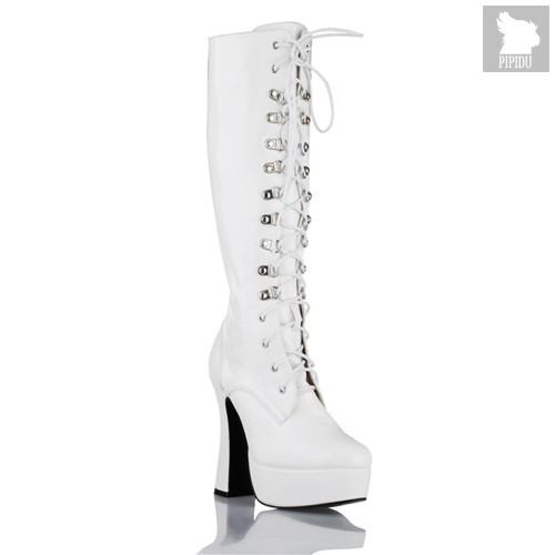 Cапоги Hustler White, на устойчивом каблуке, цвет белый, 36 - Electric Shoes