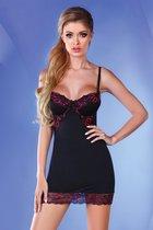 Сорочка по фигуре Pierrette с двухцветным кружевом, цвет черный, размер S-M - Livia Corsetti