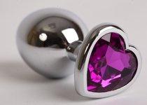 Анальная пробка сердечком с фиолетовым стразом 8х3,5см 47143-1-MM - Eroticon