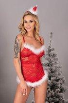 Пикантная сорочка Sensual в новогоднем стиле, цвет белый/красный, S-M - Livia Corsetti