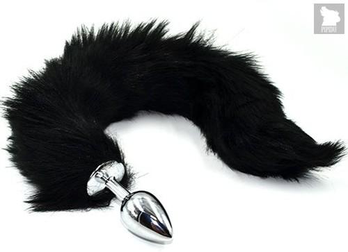Серебристая анальная пробка из нержавеющей стали с черным гибким хвостом, цвет черный - Kanikule
