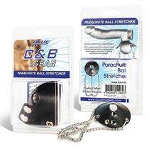 Утяжка для мошонки из искусственной кожи с цепочками PARACHUTE BALL STRETCHER, цвет черный - Blue Line