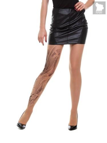 Телесные колготки Koi Fish с имитацией черной татуировки, цвет телесный - TTights