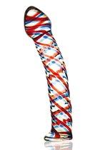 Стеклянный фаллос с разноцветными спиралями - 17 см, цвет разноцветный - Sexus