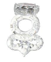 Прозрачное эрекционное кольцо с вибратором и подхватом, цвет прозрачный - Toyfa