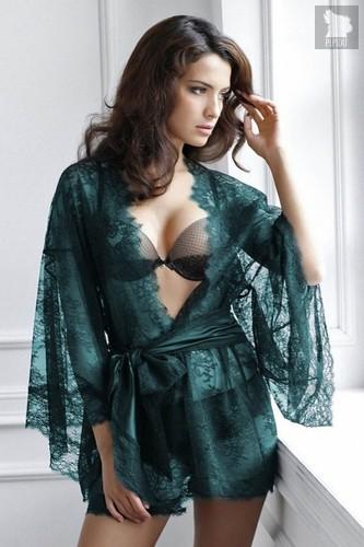 Роскошный кружевной халат-кимоно, цвет черный - Laete