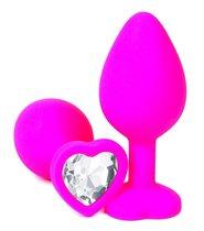 Розовая силиконовая пробка с прозрачным кристаллом-сердцем - 10,5 см., цвет прозрачный - Vandersex